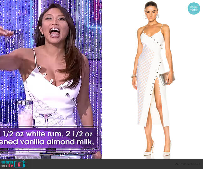 Macrame Asymmetrical Insert Loops & Metal Balls Dress by David Koma worn by Jeannie Mai  on The Real