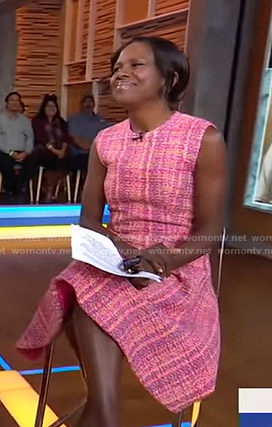 Deborah Roberts's pink tweed dress on Good Morning America