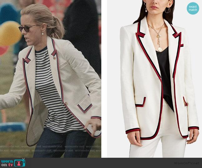 Stripe-Trimmed Cotton One-Button Blazer by Derek Lam 10 Crosby worn by Elizabeth McCord (Téa Leoni) on Madam Secretary