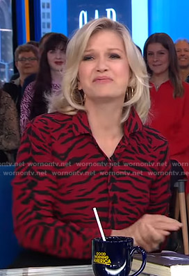 Diane Sawyer's red zebra print blouse on Good Morning America