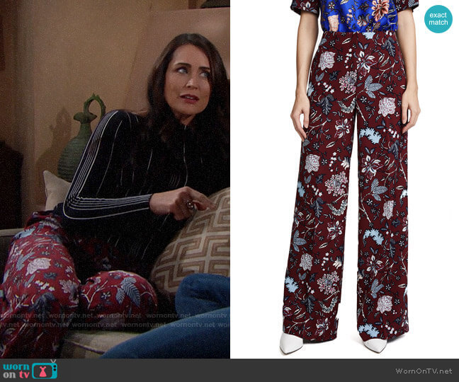 Diane von Furstenberg Canton Bordeaux Wide Leg Pants worn by Quinn Fuller (Rena Sofer) on The Bold & the Beautiful