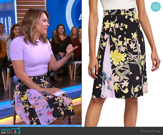 Opal Box Pleat Skirt by Diane von Furstenberg worn by Ginger Zee  on Good Morning America