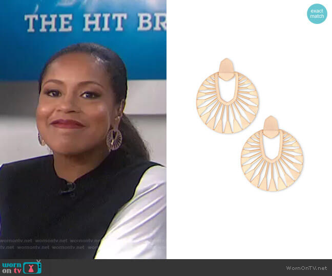 Didi Sunburst Earrings by Kendra Scott worn by Sheinelle Jones  on Today