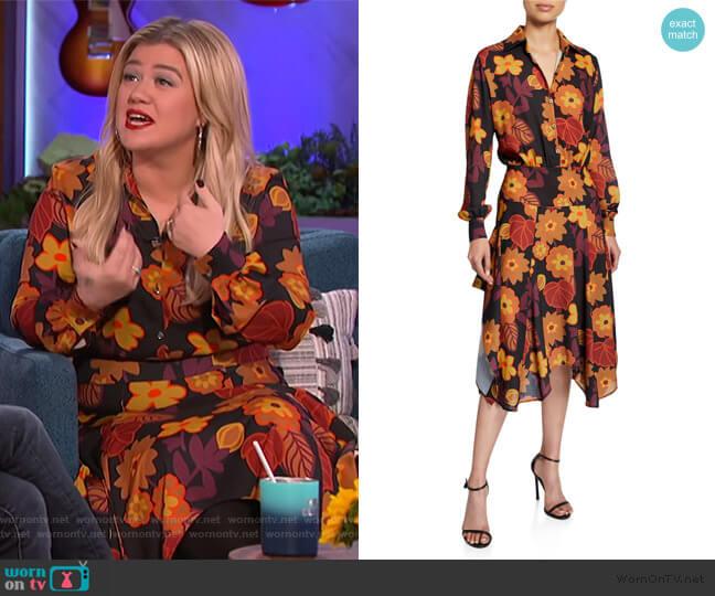 Natasha Asymmetrical Floral-Print Shirt Dress by Dodo Bar Or worn by Kelly Clarkson  on The Kelly Clarkson Show