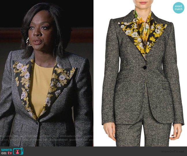 Brocade-trimmed wool-blend tweed jacket by Dolce & Gabbana worn by Annalise Keating (Viola Davis) on HTGAWM