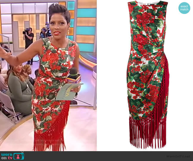 Fringe-Trimmed Floral Silk-Blend Midi-Dress by Dolce & Gabbana worn by Tamron Hall  on Tamron Hall Show