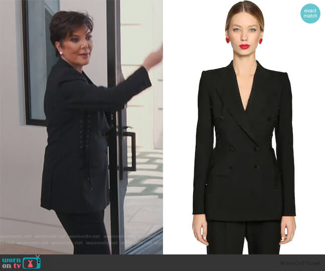 Lace-up Stretch Wool Blazer by Dolce & Gabbana worn by Kris Jenner  on Keeping Up with the Kardashians