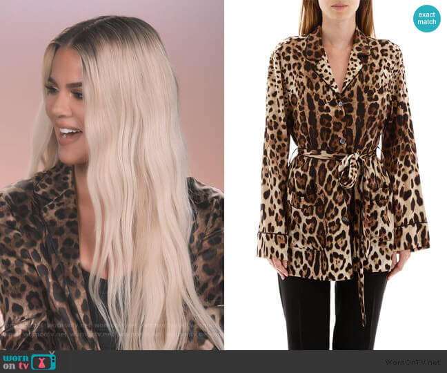Leopard-Print Satin Pajama Shirt by Dolce & Gabbana worn by Khloe Kardashian  on Keeping Up with the Kardashians
