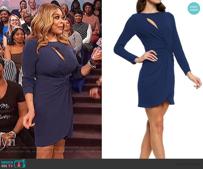 Coby Faux Wrap Mini Dress by Dress the Population worn by Wendy Williams  on The Wendy Williams Show