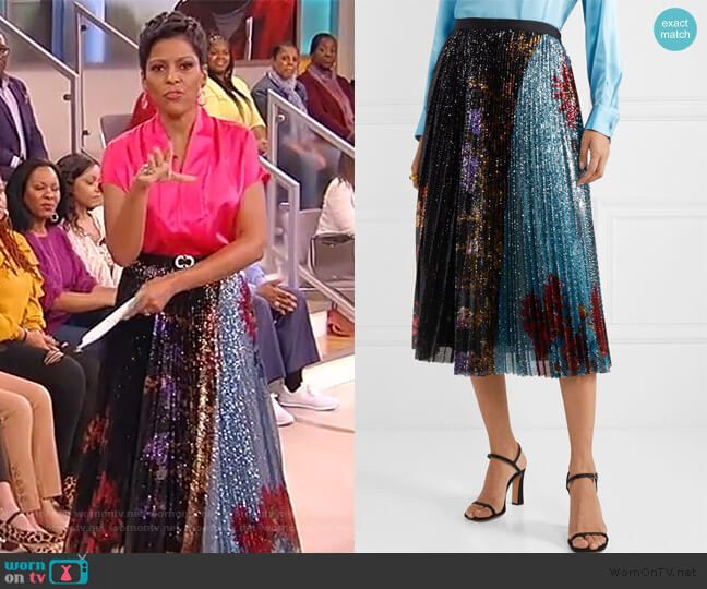 Pleated sequined floral-print tulle midi skirt by Dries Van Noten worn by Tamron Hall  on Tamron Hall Show