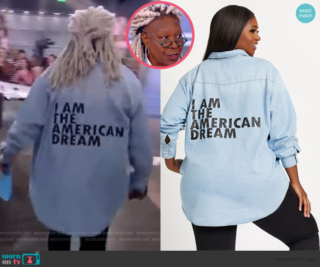 American Dream Denim Top by Dubgee by Whoopi worn by Whoopi Goldberg  on The View