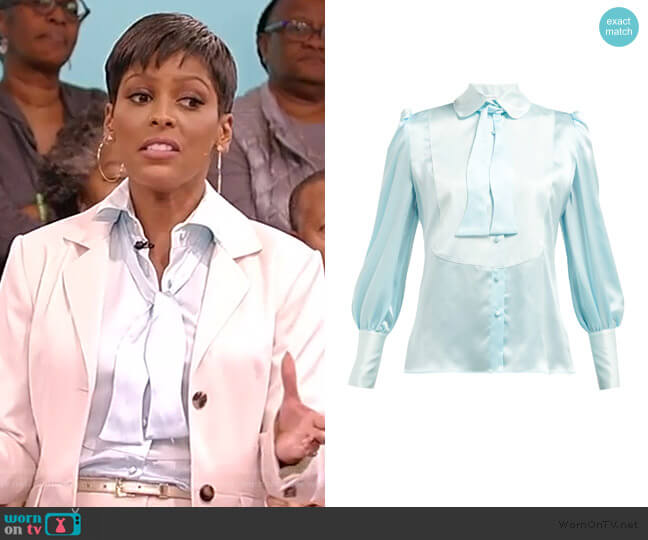 Jolly Pussy-bow Silk Blouse by Edeltrud Hofmann worn by Tamron Hall  on Tamron Hall Show