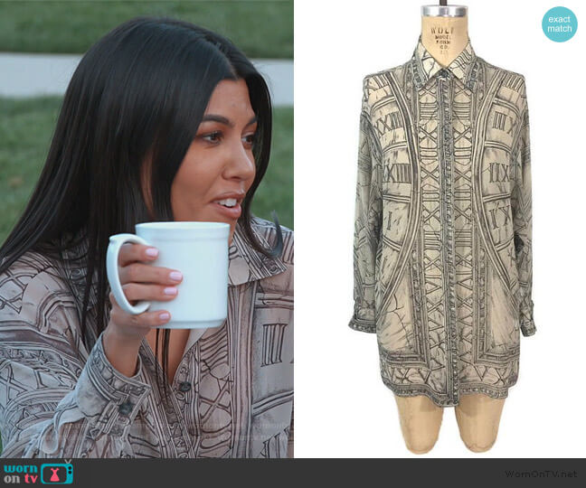 Zodiac Blouse by Emanuel Ungaro worn by Kourtney Kardashian  on Keeping Up with the Kardashians