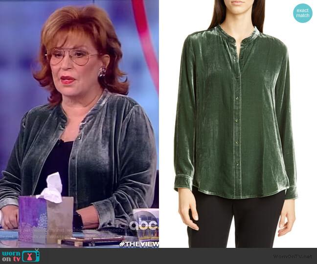 Mandarin Collar Velvet Shirt by Eileen Fisher worn by Joy Behar  on The View