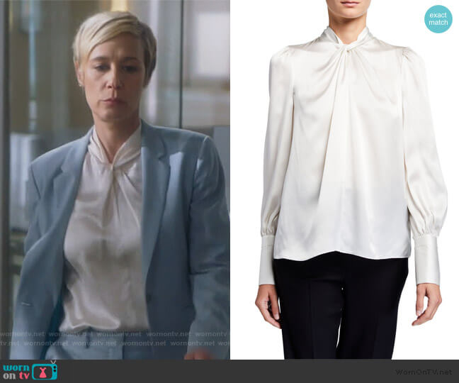 Bali Twist-Neck Silk Shirt by Elie Tahari worn by Bonnie Winterbottom (Liza Weil) on HTGAWM