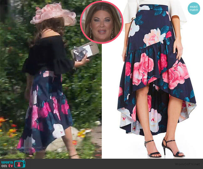 Floral Faux Wrap Hi-low Skirt by Eliza J worn by Emily Simpson  on The Real Housewives of Orange County