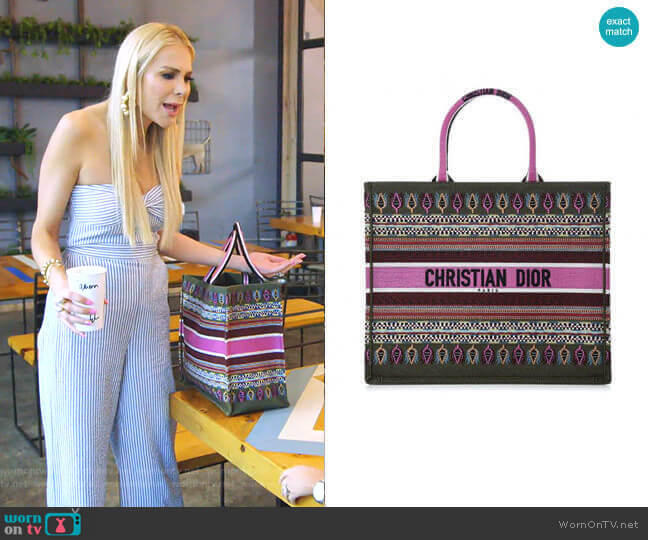 Embroidered Book Tote Bag by Christian Dior worn by Kameron Westcott  on The Real Housewives of Dallas