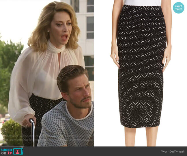 Polka Dot Stretch Pencil Skirt by Emporio Armani worn by Sharon Lawrence on Dynasty