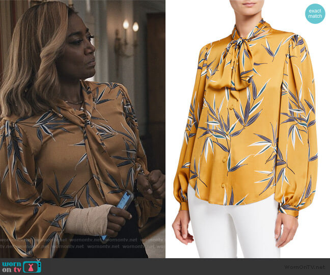 Cleone Printed Button-Front Tie-Neck Top by Equipment worn by Daisy Grant (Patina Miller) on Madam Secretary