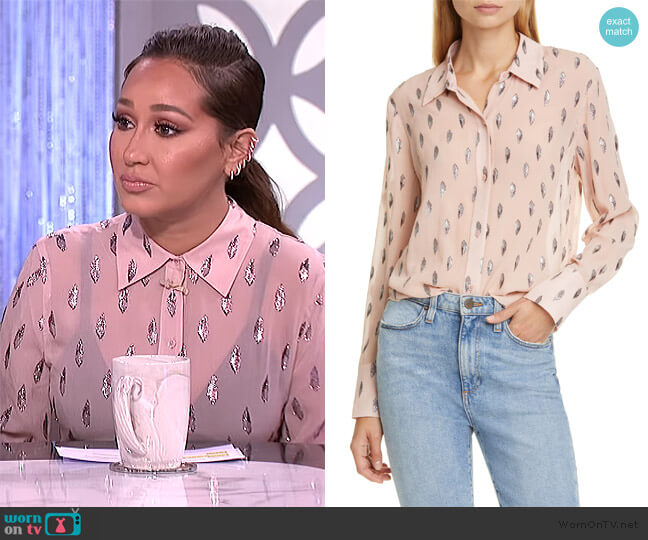 Sedienne Metallic Leaves Blouse by Equipment worn by Adrienne Houghton  on The Real
