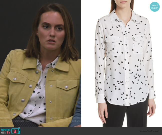 Starry Night Silk Shirt by Equipment worn by Angie (Leighton Meester) on Single Parents