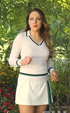 Fallon's white tennis sweater and skirt on Dynasty