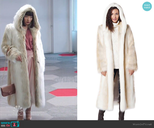 Hooded Full Length Faux Fur Coat by Fabulous Furs worn by Mei Lin (Poppy Liu) on Sunnyside
