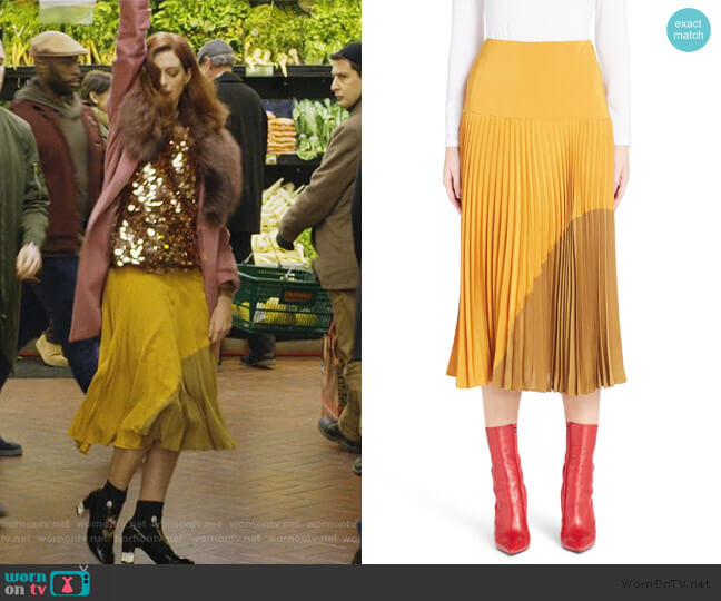 Pleated Silk Crepe de Chine Skirt by Fendi worn by Lexi (Anne Hathaway) on Modern Love