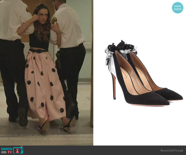 Fire Embellished Suede pumps by Aquazzura worn by Fallon Carrington (Elizabeth Gillies) on Dynasty