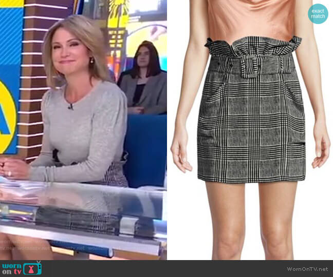 Plaid Paper Bag Skirt by Fleur du Mal worn by Amy Robach  on Good Morning America