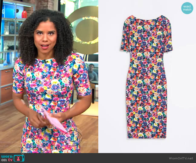 Floral Printed Dress by Zara worn by Adriana Diaz on CBS This Morning
