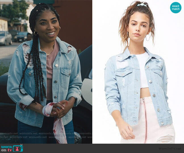 Distressed Denim Jacket by Forever 21 worn by Peri (Adriyan Rae) on Light as a Feather