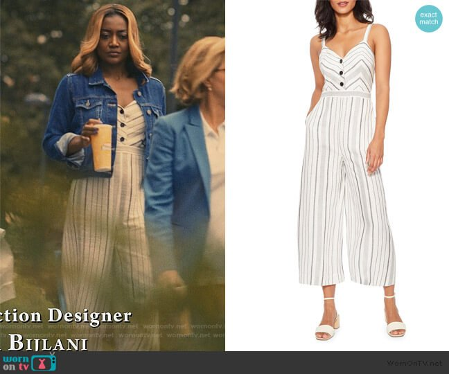 Dominica Striped Sleeveless Wide-Leg Crop Jumpsuit by Parker worn by Daisy Grant (Patina Miller) on Madam Secretary