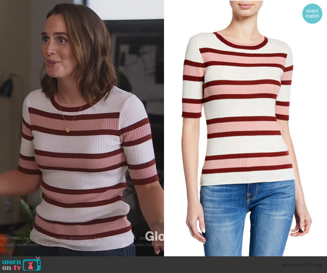 Panel Stripe Short-Sleeve Wool-Blend Sweater by Frame worn by Angie (Leighton Meester) on Single Parents