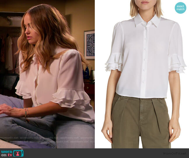Ruffle Sleeve Silk Top by Frame worn by Patty Bladell (Debby Ryan) on Insatiable