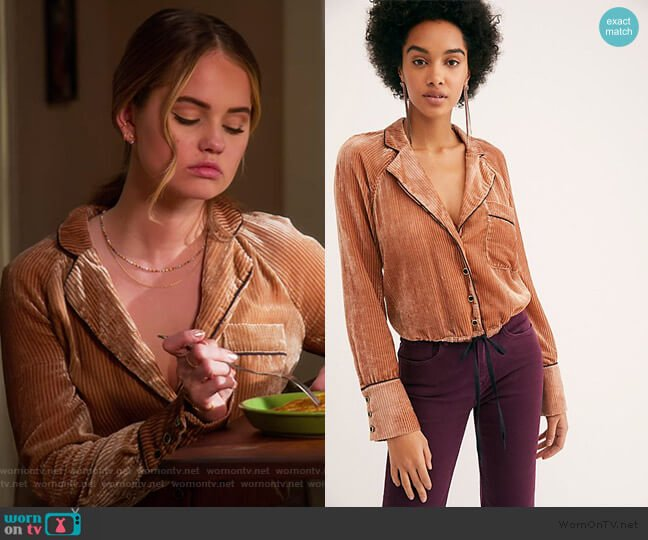 Aspen Nights Velvet Top by Free People worn by Patty Bladell (Debby Ryan) on Insatiable