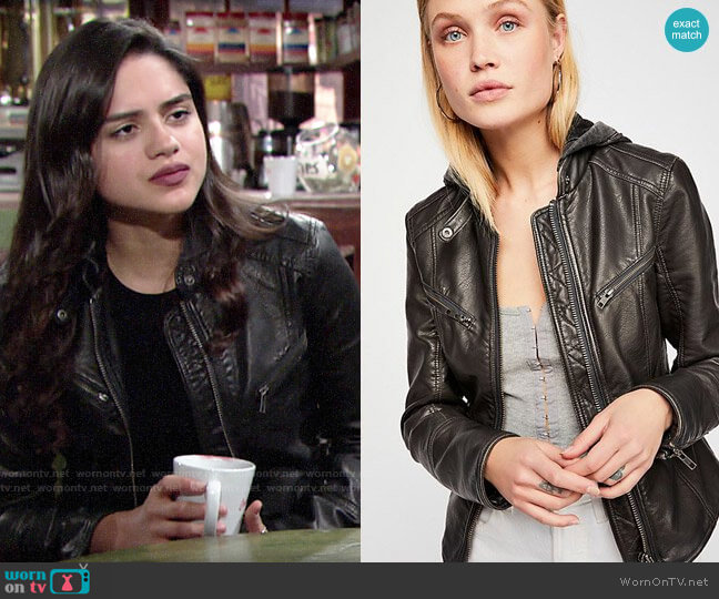 Free People Monroe Hooded Jacket worn by Lola Rosales (Sasha Calle) on The Young & the Restless