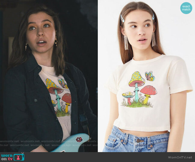 Mushroom Butterfly Baby Tee by Future State worn by Sammi Karras (Katelyn Nacon) on Light as a Feather