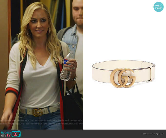 GG-logo Leather Belt by Gucci worn by Stephanie Hollman  on The Real Housewives of Dallas