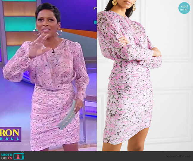 Ruched floral-print silk-chiffon mini dress by Giambattista Valli worn by Tamron Hall  on Tamron Hall Show