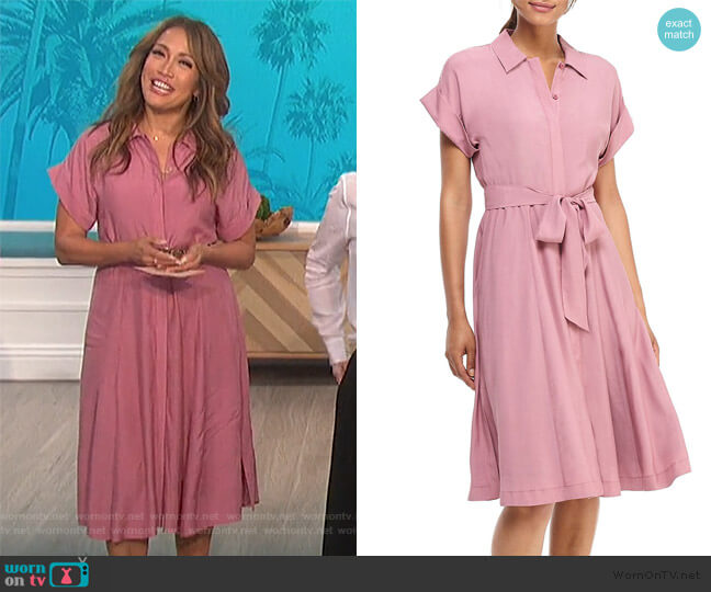 Feather Faille Short-Sleeve Shirtdress by Gal Meets Glam Collection worn by Carrie Inaba  on The Talk