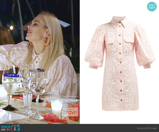 Broderie-Anglaise Shirtdress by Ganni worn by Kameron Westcott  on The Real Housewives of Dallas