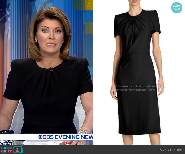 Gathered Silk Midi Dress by Alexander McQueen worn by Norah O'Donnell  on CBS Evening News