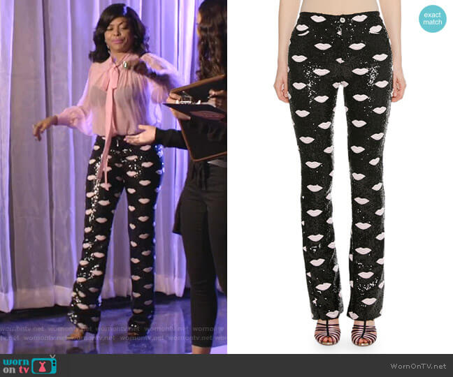 Lip-Embroidered Skinny Sequin Pants by Giambattista Valli worn by Cookie Lyon (Taraji P. Henson) on Empire