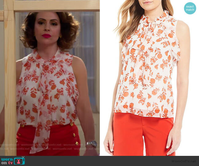 Tie Neck Sleeveless Top with Ruffle Detail by Gibson & Latimer worn by Coralee Armstrong (Alyssa Milano) on Insatiable