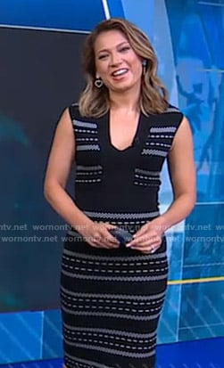 Ginger's black knit v-neck dress on Good Morning America