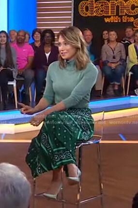 Ginger's metallic turtleneck sweater and green skirt on Good Morning America