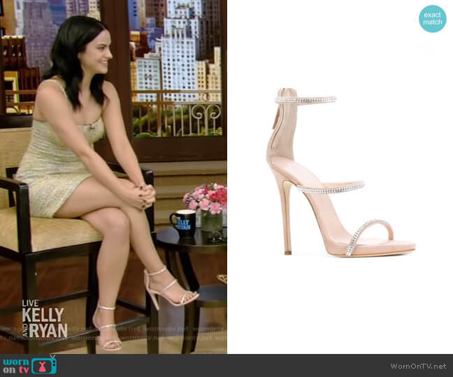 Harmony Sparkle Sandals by Giuseppe Zanotti worn by Camila Mendes on Live with Kelly and Ryan