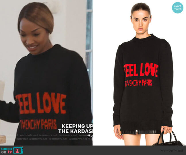 I Feel Love Sweater by Givenchy worn by Malika on Keeping Up with the Kardashians