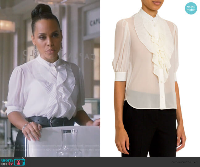 Ruffled-Front Silk Button-Front Shirt by Givenchy worn by Tegan Price (Amirah Vann) on HTGAWM
